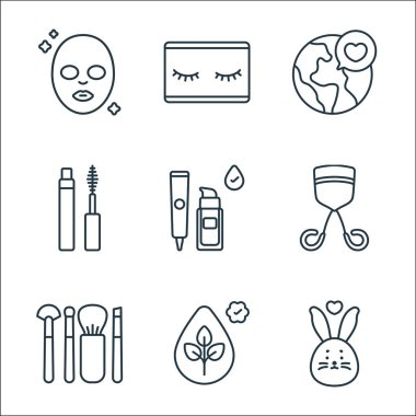 Beauty cosmetics line icons. linear set. quality vector line set such as cruelty free, paraben free, makeup brushes, eyelash curler, foundation, mascara, save the world, eyelashes icon