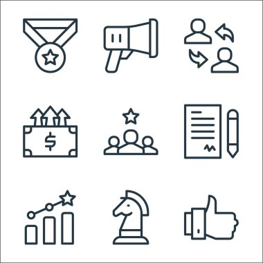 Job promotion line icons. linear set. quality vector line set such as thumbs up, strategy, growth, contract, best employee, increase, employee, megaphone icon