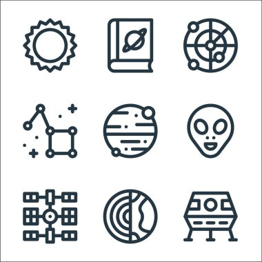 Space line icons. linear set. quality vector line set such as lunar module, earth, space station, alien, mars, constellation, radar, book icon