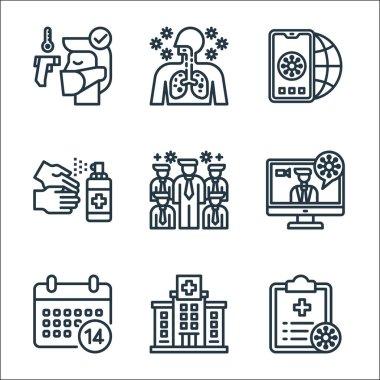 Coronavirus line icons. linear set. quality vector line set such as file, hospital, quarantine, news report, spreading, handwash, mobilephone, lung icon