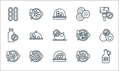 Vegan food line icons. linear set. quality vector line set such as olive oil, grapes, vegetable, fruit salad, mushroom, no milk, pasta, legumes, lentils icon