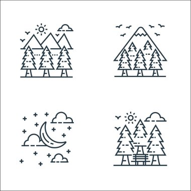 Nature and landscape line icons. linear set. quality vector line set such as garden, cloudy night, forest icon