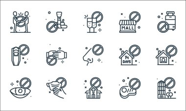 Virus restrictions line icons. linear set. quality vector line set such as restricted area, church, no touch, no meat, mask, tomb, quarantine, closed, snakes icon