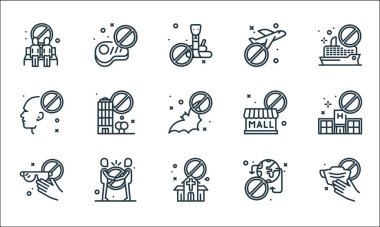 Virus restrictions line icons. linear set. quality vector line set such as mask, church, no touch, no traveling, no handshake, touch, closed, airplane, meat icon