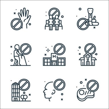 Virus restrictions line icons. linear set. quality vector line set such as no meat, no touch, restricted area, church, no visiting, old man, snakes, bench icon