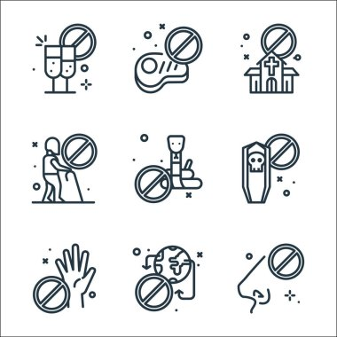 Virus restrictions line icons. linear set. quality vector line set such as no touch, no traveling, no touch, tomb, snakes, old man, church, meat icon