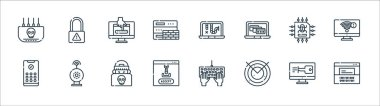 Hacker line icons. linear set. quality vector line set such as hacker, radar, malware, pin code, data theft, password, malware, cyber security icon