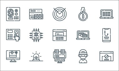 Hacker line icons. linear set. quality vector line set such as shield, programming, download, hacker, alarm, access, alert, bitcoin, firewall icon