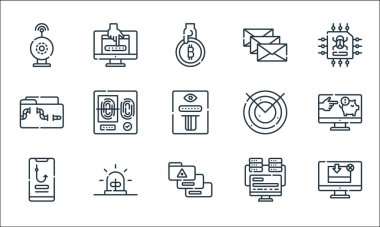 Hacker line icons. linear set. quality vector line set such as download, personal data, phishing, programming, alarm, malware, radar, spam, password icon