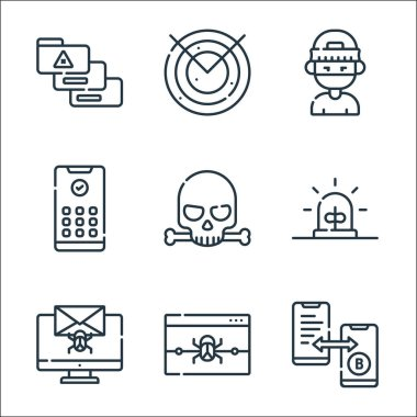 Hacker line icons. linear set. quality vector line set such as bitcoin, alert, bug, alarm, skull, pin code, hacker, radar icon