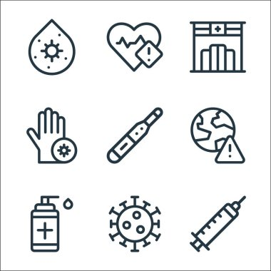 Coronavirus line icons. linear set. quality vector line set such as injection, coronavirus, disinfectant, worldwide, thermometer, hand, pharmacy, heartbeat icon