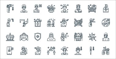 Virus transmission line icons. linear set. quality vector line set such as breath, sick, virus transmission, smartphone, virus, protection, travelling, cough, washing hands icon
