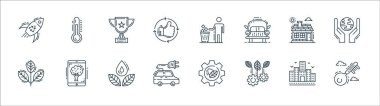Environment and eco line icons. linear set. quality vector line set such as key, ecology, electric car, plant, house, trophy, trash bin, thermometer icon