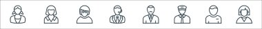 Professions line icons. linear set. quality vector line set such as employee, student, taxi driver, manager, employee, maid icon