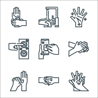 Wash hands line icons. linear set. quality vector line set such as washing hands, washing hands, washing smartphone, hand, icon