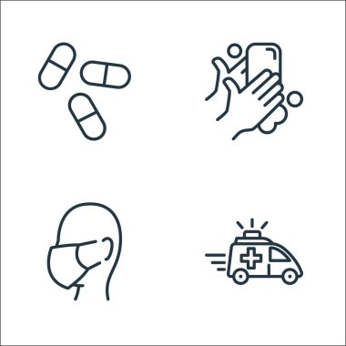 Coronavirus line icons. linear set. quality vector line set such as emergency, face mask, washing hands icon
