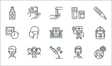 Coronavirus line icons. linear set. quality vector line set such as pandemic, vaccine, face mask, doctor, quarantine, ventilation, medicines, washing hands icon