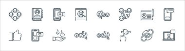 Social media line icons. linear set. quality vector line set such as laptop, subscribe, angry face, thumbs up, profile, smartphone, thumbs up, contact list icon
