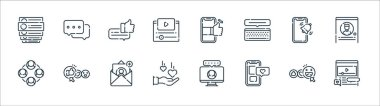 Social media line icons. linear set. quality vector line set such as video player, smartphone, love, network, smartphone, bubble speech, smartphone, chat box icon