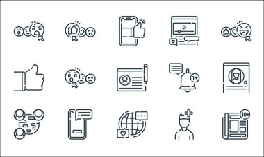 Social media line icons. linear set. quality vector line set such as news, internet, network, user, smartphone, thumbs up, notification, video player, thumbs up icon