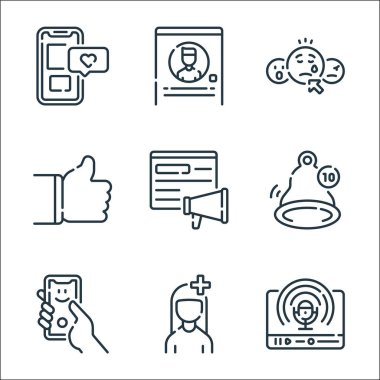 Social media line icons. linear set. quality vector line set such as podcast, user, selfie, notification, viral, thumbs up, sad face, profile icon
