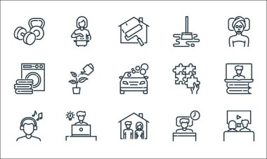 Stay at home for quarantine line icons. linear set. quality vector line set such as movie, stay at home, human sleeping, working, laundry, jigsaws, cleaning mop, cooking icon