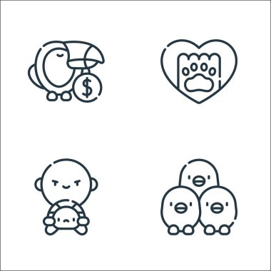 Animal welfare line icons. linear set. quality vector line set such as chickens, wildlife, paw icon