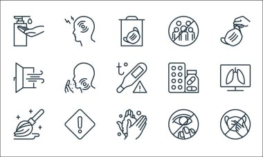Stop virus line icons. linear set. quality vector line set such as medical mask, wash, mop, eye, window, drugs, gathering, pain icon