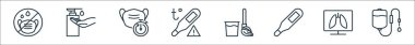 Stop virus line icons. linear set. quality vector line set such as dropper, lungs, temperature, broom, temperature, medical mask, soap icon