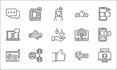 Social media line icons. linear set. quality vector line set such as monitor, thumbs up, profile, surprised, network, laptop, podcast, review, news icon