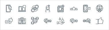 Social media line icons. linear set. quality vector line set such as thumbs up, surprised, thumbs up, bubble speech, smartphone, link, news, laptop icon