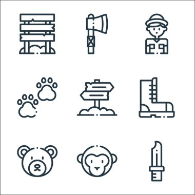 Jungle line icons. linear set. quality vector line set such as knife, monkey, bear, boot, paws, explorer, axe icon