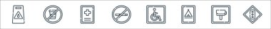 Signals and prohibitions line icons. linear set. quality vector line set such as traffic light, radar, camping, disabled, no smoking, hospital, no drinking icon