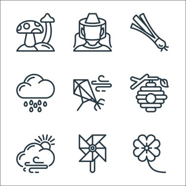 Spring line icons. linear set. quality vector line set such as flowers, wind mill, cloudy, beehive, kite, rainy day, spring onion, beekeeper icon