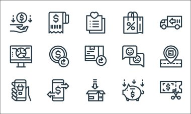 Ecommerce line icons. linear set. quality vector line set such as voucher, packing, mobile shopping, save money, transaction, data analysis, customer feedback, shopping bag, receipt icon