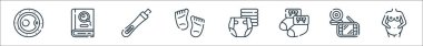 Maternity line icons. linear set. quality vector line set such as pregnant, baby monitor, baby socks, diaper, feet, pregnancy test, book icon