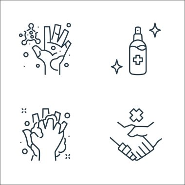 Washing hand line icons. linear set. quality vector line set such as no handshake, washing, alcohol icon