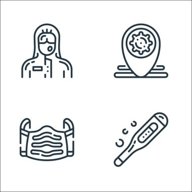 Virus transmission line icons. linear set. quality vector line set such as thermometer, medical mask, location pin icon