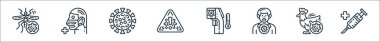 Virus transmission line icons. linear set. quality vector line set such as vaccine, poultry, infected, temperature sensor, warning, virus, medical mask icon