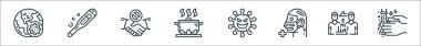 Virus transmission line icons. linear set. quality vector line set such as washing hand, long distance, medical mask, virus, hot food, no touch, thermometer icon