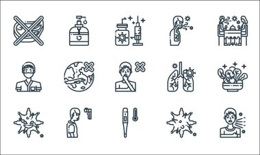 Virus transmission line icons. linear set. quality vector line set such as cough, thermometer, virus, virus, thermometer, doctor, breath, cough, hand sanitizer icon
