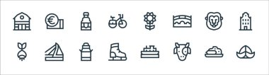 Holland line icons. linear set. quality vector line set such as hat, cow, ice skating shoes, bulb, lion, beer, sunflower, euro icon