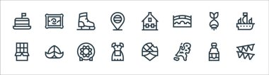Holland line icons. linear set. quality vector line set such as garland, holland, costume, chocolate, bulb, ice skating shoes, house, painting icon