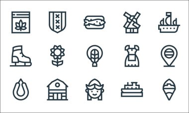 Holland line icons. linear set. quality vector line set such as french fries, girl, rookworst, boat, barn, ice skating shoes, costume, windmill, amsterdam icon
