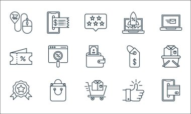Shopping ecommerce line icons. linear set. quality vector line set such as smartphone, shopping cart, medal, thumbs up, shopping bag, voucher, price tag, rocket launch, online payment icon