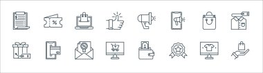 Shopping ecommerce line icons. linear set. quality vector line set such as hand, medal, monitor, gift, shopping bag, ecommerce, megaphone, voucher icon