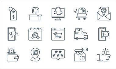 Shopping ecommerce line icons. linear set. quality vector line set such as thumbs up, rating, wallet, t shirt, pin, advertising, delivery, shopping cart, unboxing icon