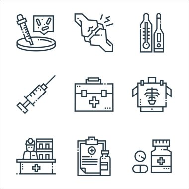 Medical services line icons. linear set. quality vector line set such as drugs, medical prescription, receptionist, x rays, first aid kit, syringe, thermometer, joint icon