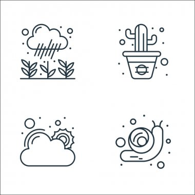Spring line icons. linear set. quality vector line set such as snail, good weather, cactus icon