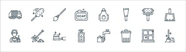 Cleaning line icons. linear set. quality vector line set such as broom, trash, liquid soap, cleaner, roller, mop, apron, duster icon